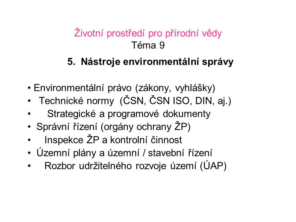 Životní prostředí pro přírodní vědy Téma 9 5. Nástroje environmentální správy Environmentální právo (zákony, vyhlášky) Technické normy (ČSN, ČSN ISO,
