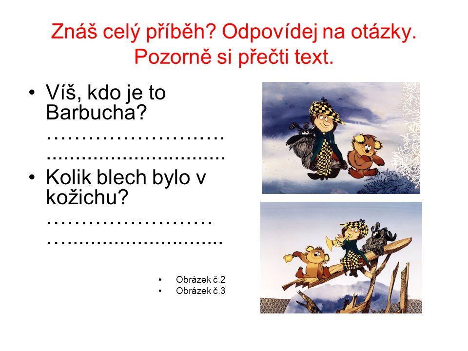 Znáš celý příběh? Odpovídej na otázky. Pozorně si přečti text. Víš, kdo je to Barbucha? ………………….…................................ Kolik blech bylo v k