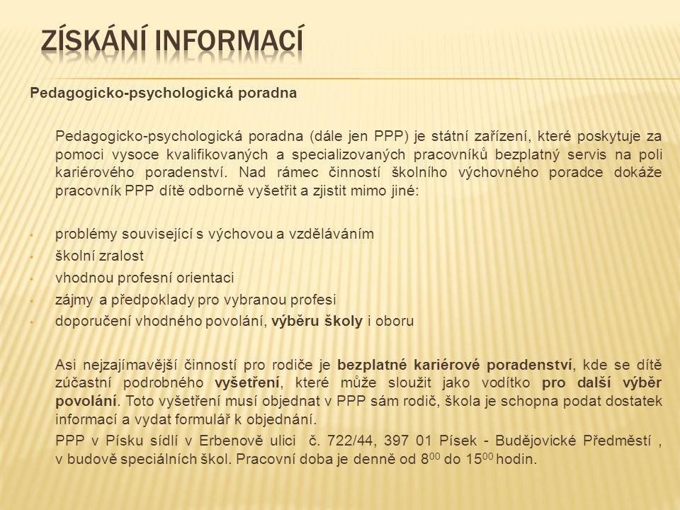 Kontaktní údaje PPP Písek Pedagogicko-psychologická poradna (pobočka Písek-Budějovické Předměstí) Nabídka poradenství v oblasti speciální pedagogiky a psychologie se zaměřením na školství.