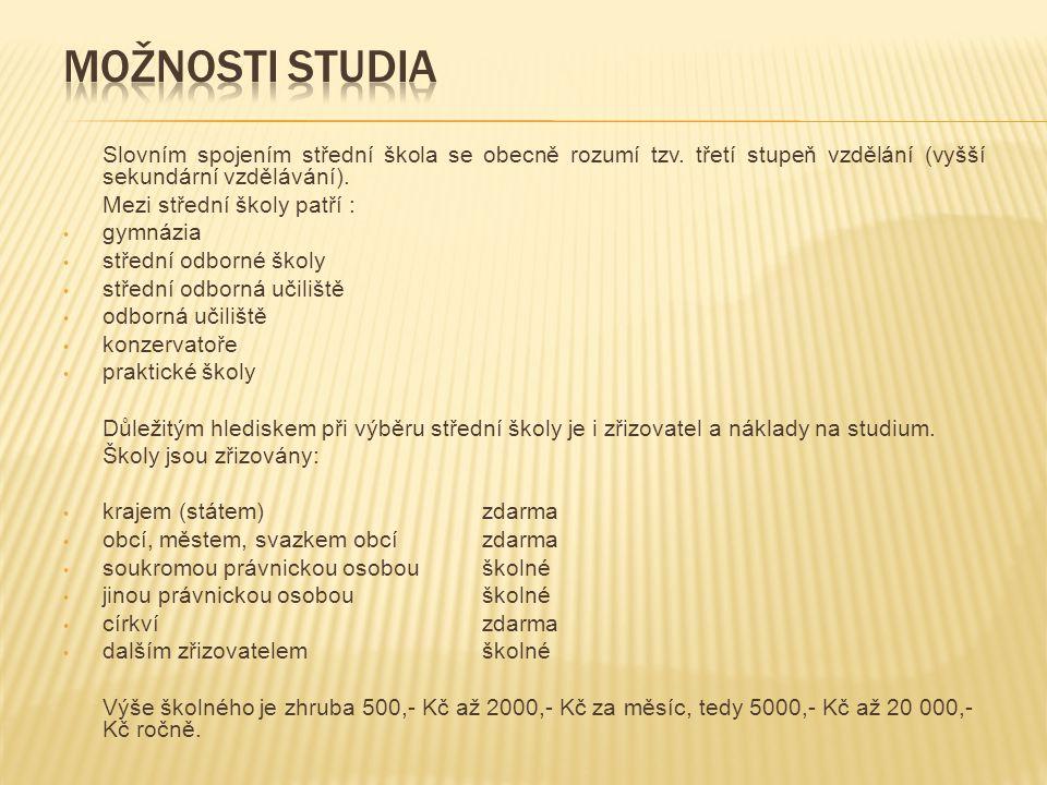 ZakončeníDélka studiaPro žáky Maturita4 po 9.roč.ZŠ na gymnáziu6 po 7.roč.