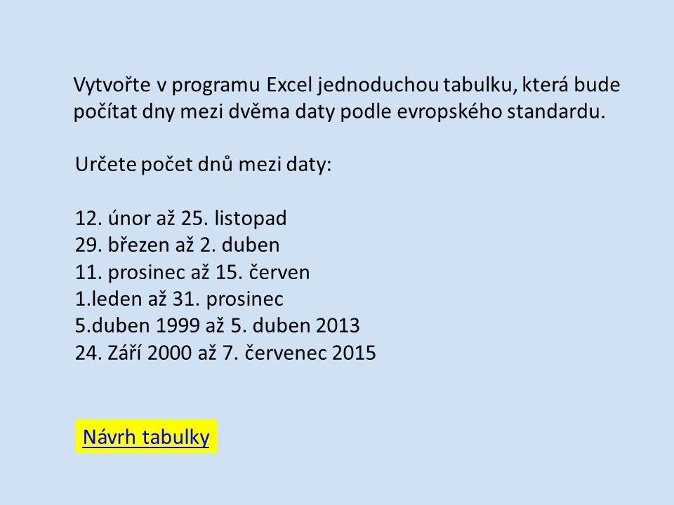 Vytvořte v programu Excel jednoduchou tabulku, která bude počítat dny mezi dvěma daty podle evropského standardu.