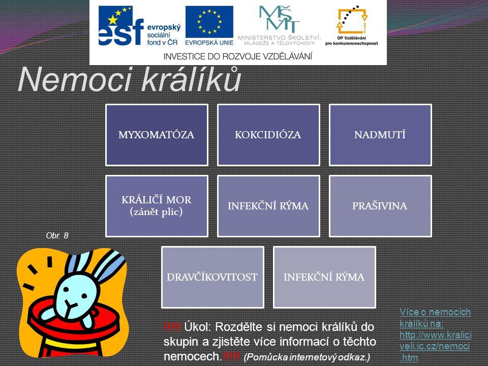 Nemoci králíků Více o nemocích králíků na: http://www.kralici veli.ic.cz/nemoci.htm MYXOMATÓZAKOKCIDIÓZANADMUTÍ KRÁLIČÍ MOR (zánět plic) INFEKČNÍ RÝMA