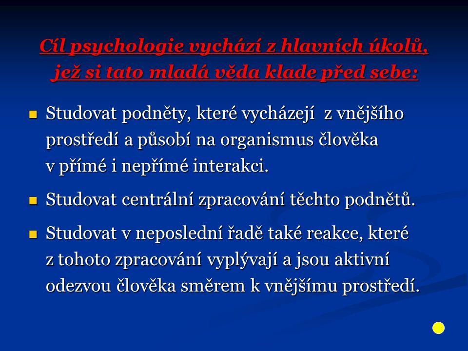 Cíl psychologie vychází z hlavních úkolů, jež si tato mladá věda klade před sebe: jež si tato mladá věda klade před sebe: Studovat podněty, které vych