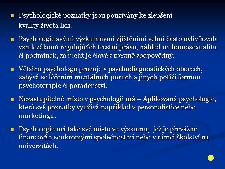 Psychologické poznatky jsou používány ke zlepšení Psychologické poznatky jsou používány ke zlepšení kvality života lidí. kvality života lidí. Psycholo