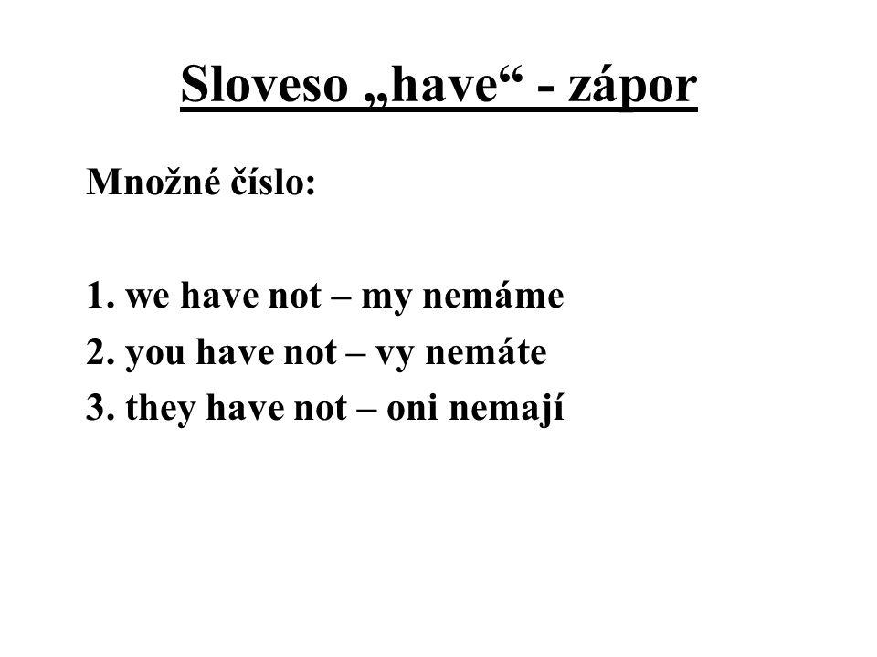 """Sloveso """"have"""" - zápor Množné číslo: 1. we have not – my nemáme 2. you have not – vy nemáte 3. they have not – oni nemají"""