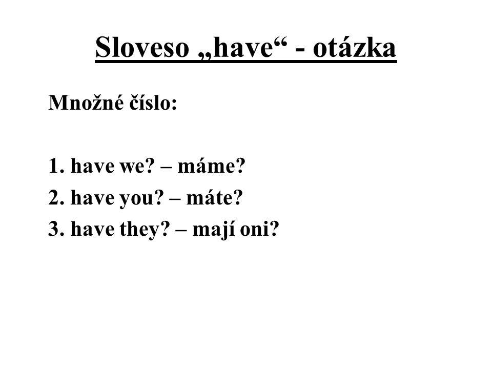 """Sloveso """"have"""" - otázka Množné číslo: 1. have we? – máme? 2. have you? – máte? 3. have they? – mají oni?"""