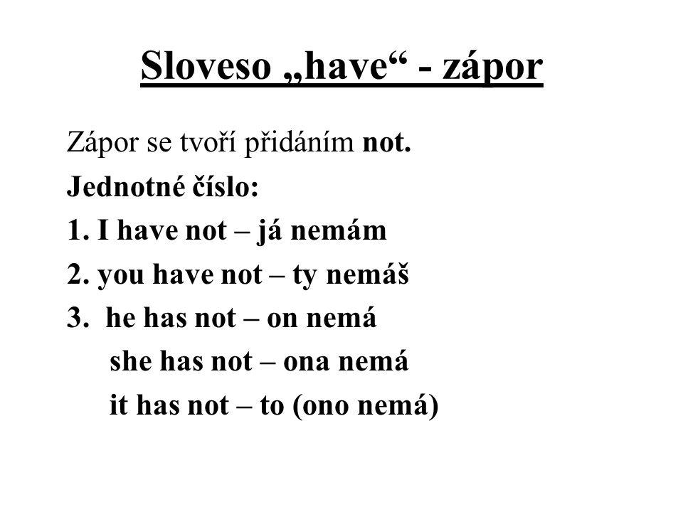 """Sloveso """"have"""" - zápor Zápor se tvoří přidáním not. Jednotné číslo: 1. I have not – já nemám 2. you have not – ty nemáš 3. he has not – on nemá she ha"""