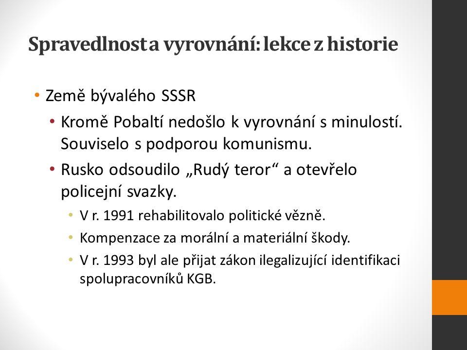 Spravedlnost a vyrovnání: lekce z historie Země bývalého SSSR Kromě Pobaltí nedošlo k vyrovnání s minulostí.