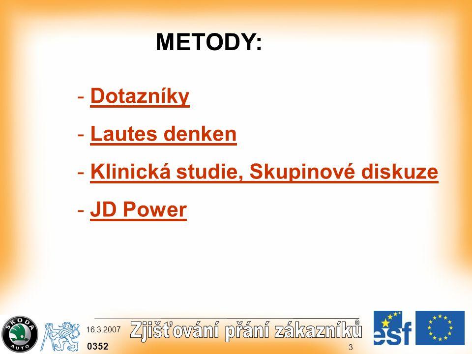0352 16.3.2007 3 - Dotazníky - Lautes denken - Klinická studie, Skupinové diskuze - JD Power METODY: