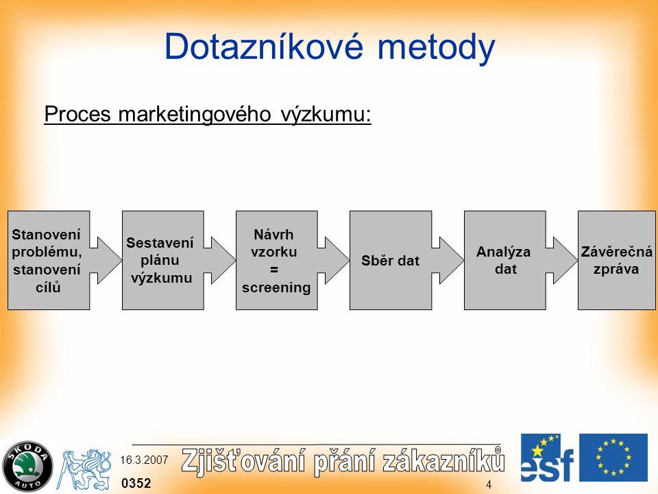0352 16.3.2007 4 Dotazníkové metody Proces marketingového výzkumu: Stanovení problému, stanovení cílů Sestavení plánu výzkumu Návrh vzorku = screening Sběr dat Analýza dat Závěrečná zpráva