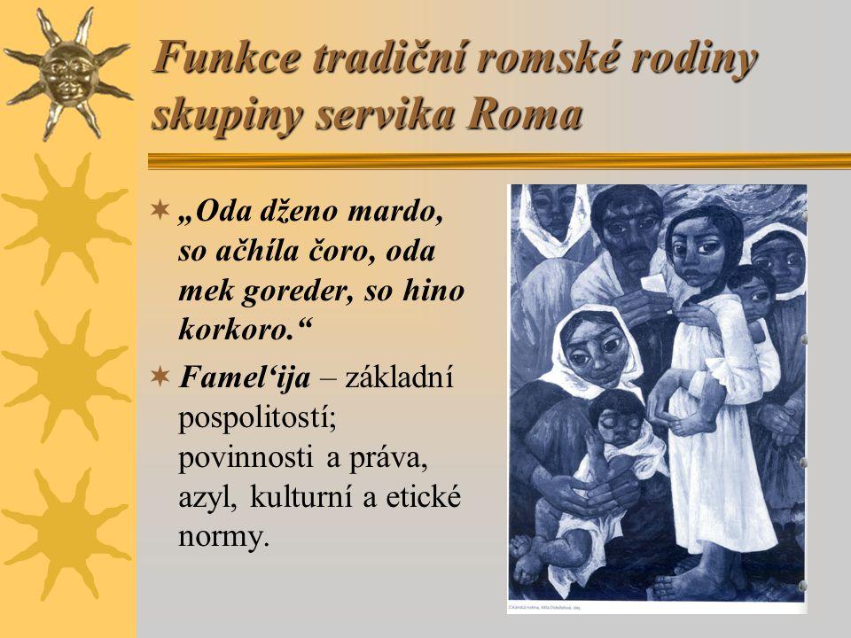 "Funkce tradiční romské rodiny skupiny servika Roma  ""Oda dženo mardo, so ačhíla čoro, oda mek goreder, so hino korkoro.  Famel'ija – základní pospolitostí; povinnosti a práva, azyl, kulturní a etické normy."