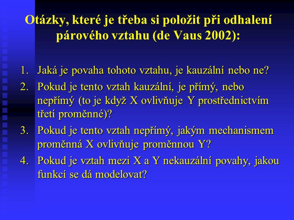 Otázky, které je třeba si položit při odhalení párového vztahu (de Vaus 2002): 1.Jaká je povaha tohoto vztahu, je kauzální nebo ne? 2.Pokud je tento v