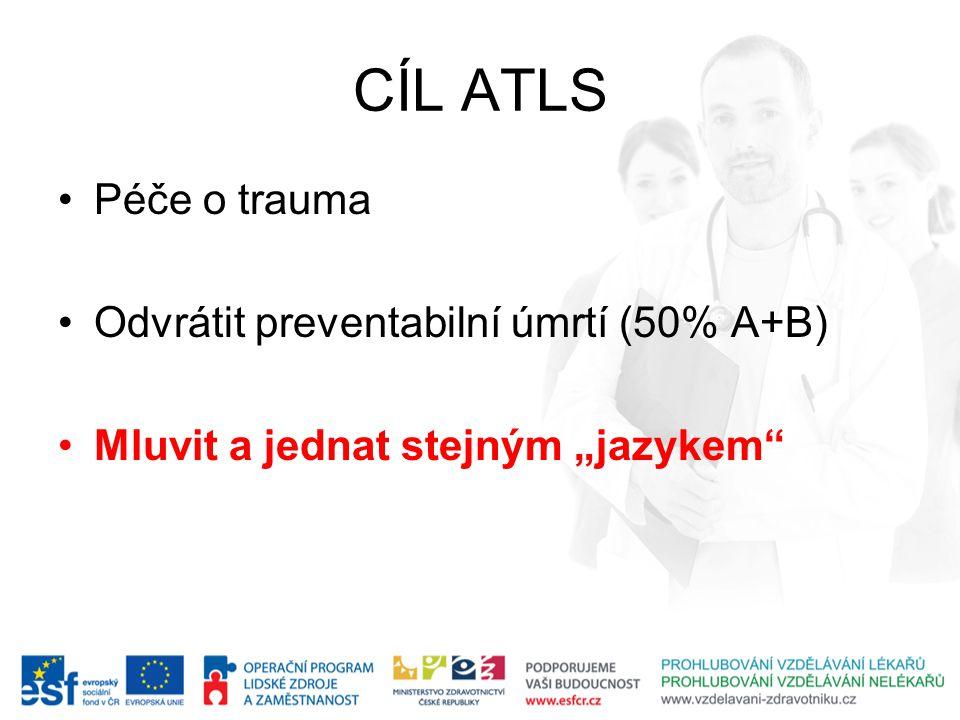 """CÍL ATLS Péče o trauma Odvrátit preventabilní úmrtí (50% A+B) Mluvit a jednat stejným """"jazykem"""""""
