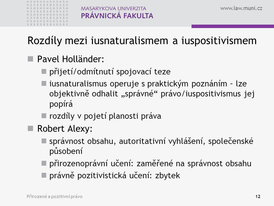 www.law.muni.cz Přirozené a pozitivní právo12 Rozdíly mezi iusnaturalismem a iuspositivismem Pavel Holländer: přijetí/odmítnutí spojovací teze iusnatu