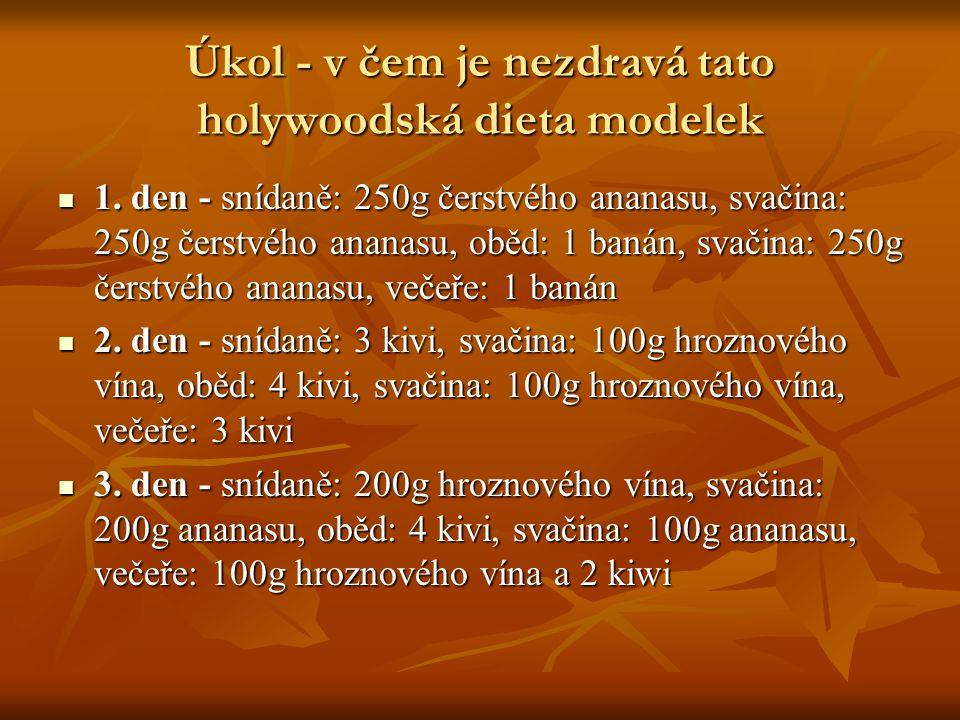 Úkol - v čem je nezdravá tato holywoodská dieta modelek 1. den - snídaně: 250g čerstvého ananasu, svačina: 250g čerstvého ananasu, oběd: 1 banán, svač