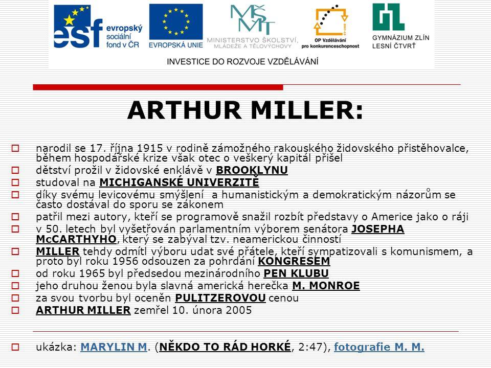 ARTHUR MILLER:  narodil se 17.