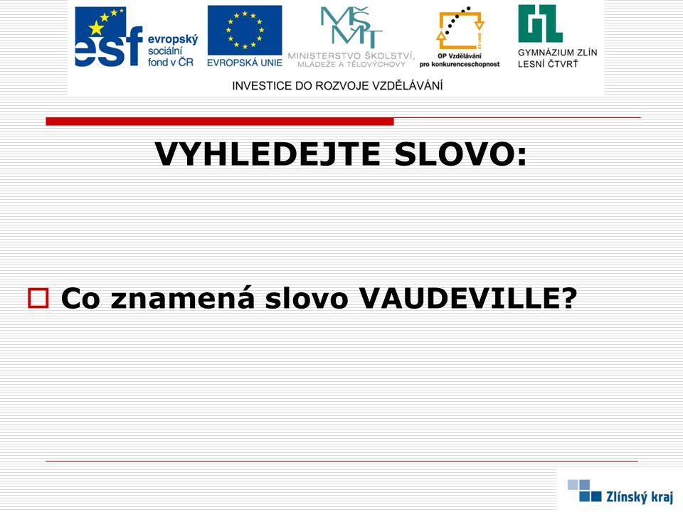 VYHLEDEJTE SLOVO:  Co znamená slovo VAUDEVILLE?