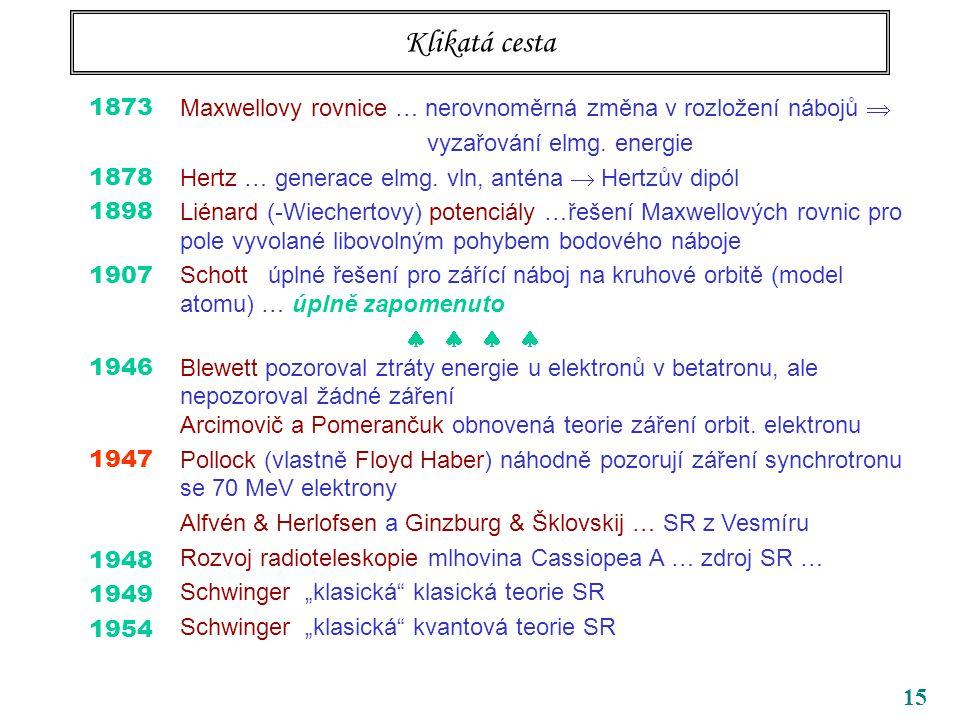 15 Klikatá cesta 1873 1878 1898 1907 1946 1947 1948 1949 1954 Maxwellovy rovnice … nerovnoměrná změna v rozložení nábojů  vyzařování elmg.