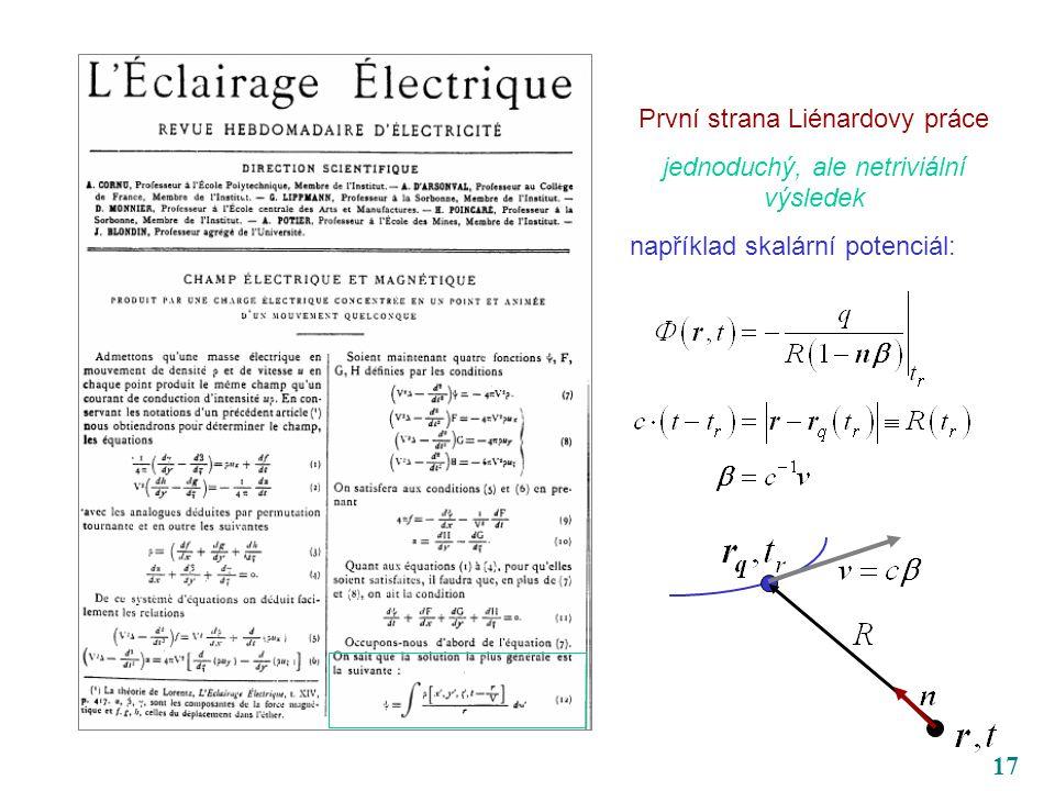 17 První strana Liénardovy práce jednoduchý, ale netriviální výsledek například skalární potenciál: