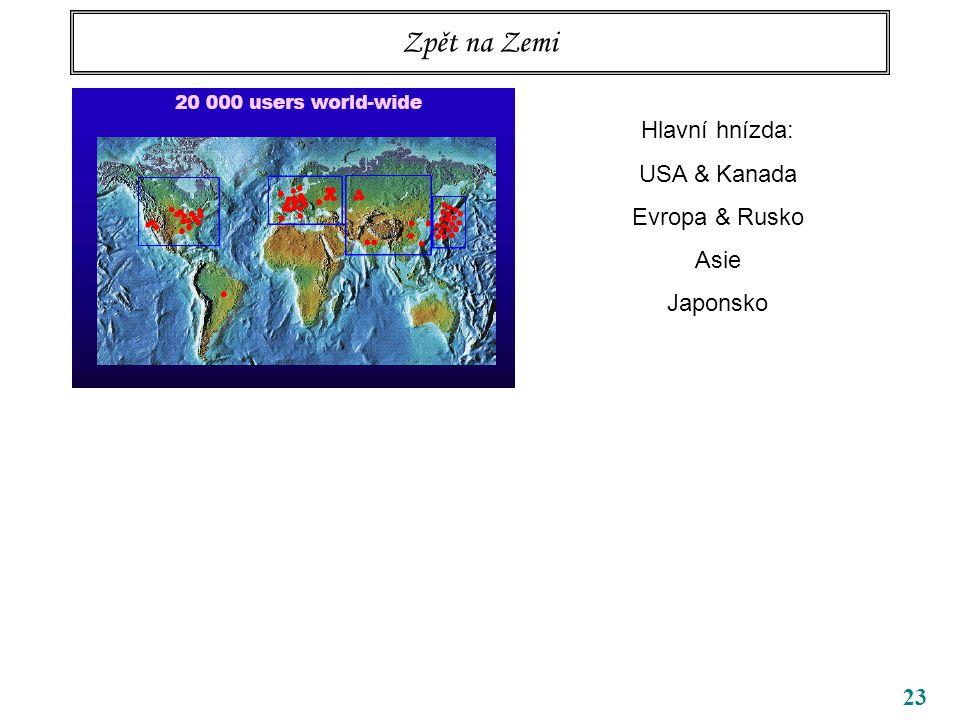 23 Zpět na Zemi Hlavní hnízda: USA & Kanada Evropa & Rusko Asie Japonsko