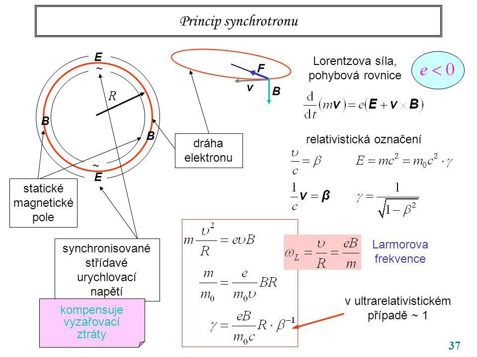 37 Princip synchrotronu ~ ~ R B B dráha elektronu Lorentzova síla, pohybová rovnice relativistická označení v ultrarelativistickém případě ~ 1 Larmorova frekvence v B F E E synchronisované střídavé urychlovací napětí kompensuje vyzařovací ztráty statické magnetické pole