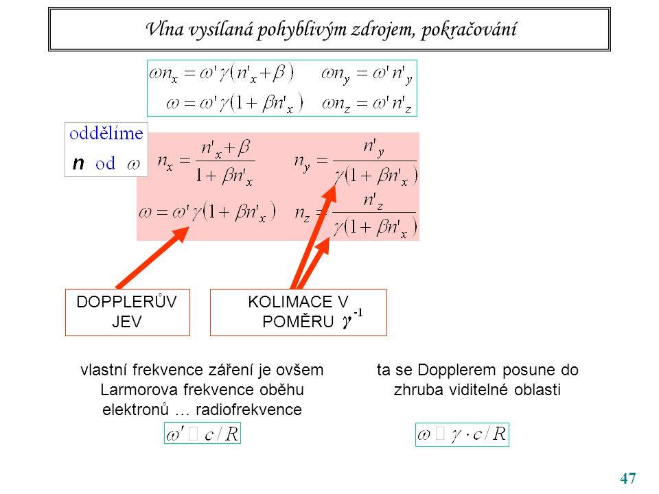 47 Vlna vysílaná pohyblivým zdrojem, pokračování DOPPLERŮV JEV KOLIMACE V POMĚRU vlastní frekvence záření je ovšem Larmorova frekvence oběhu elektronů … radiofrekvence ta se Dopplerem posune do zhruba viditelné oblasti