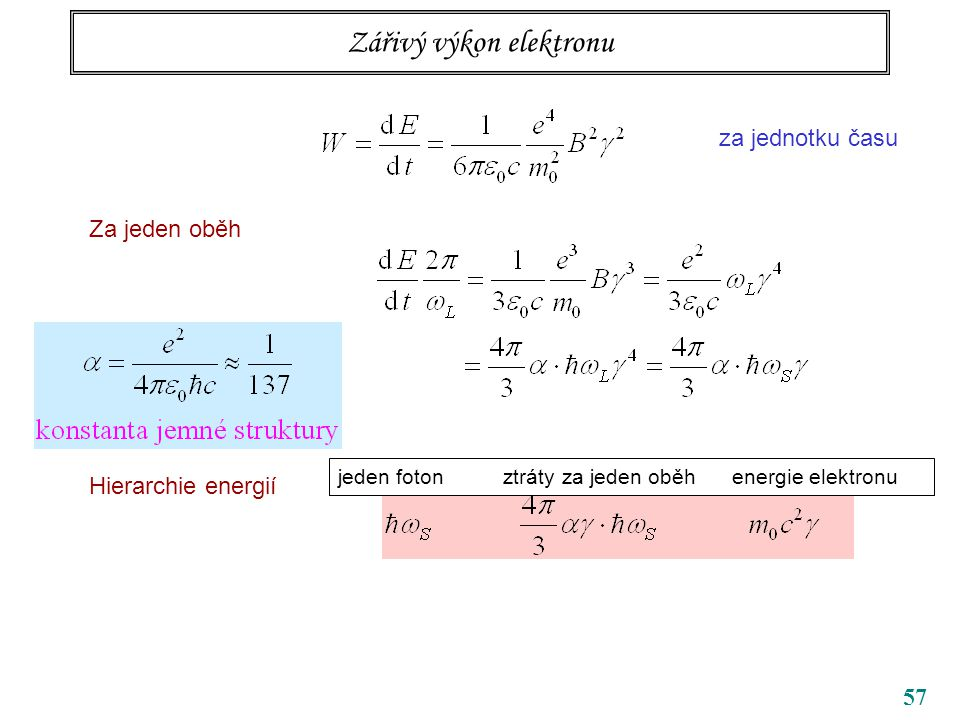 57 Zářivý výkon elektronu za jednotku času Za jeden oběh Hierarchie energií jeden foton ztráty za jeden oběh energie elektronu