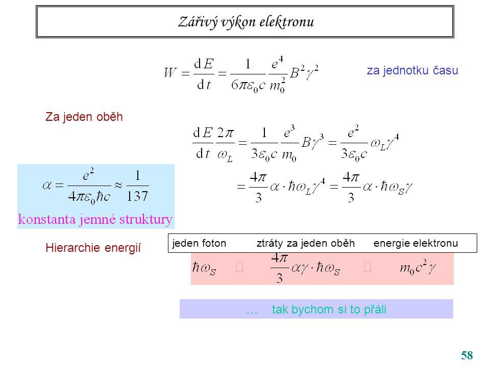 58 Zářivý výkon elektronu za jednotku času Za jeden oběh Hierarchie energií jeden foton ztráty za jeden oběh energie elektronu … tak bychom si to přáli