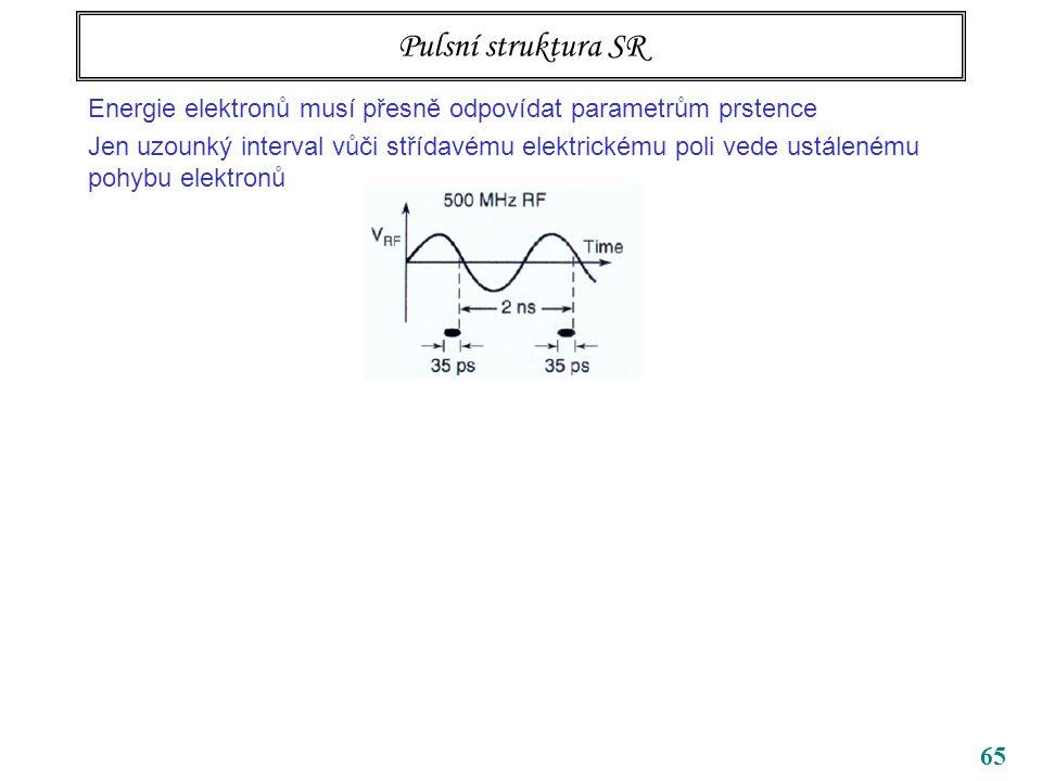 65 Pulsní struktura SR Energie elektronů musí přesně odpovídat parametrům prstence Jen uzounký interval vůči střídavému elektrickému poli vede ustálenému pohybu elektronů