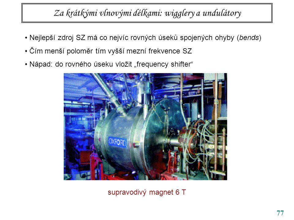 """77 Za krátkými vlnovými délkami: wigglery a undulátory Nejlepší zdroj SZ má co nejvíc rovných úseků spojených ohyby (bends) Čím menší poloměr tím vyšší mezní frekvence SZ Nápad: do rovného úseku vložit """"frequency shifter supravodivý magnet 6 T"""