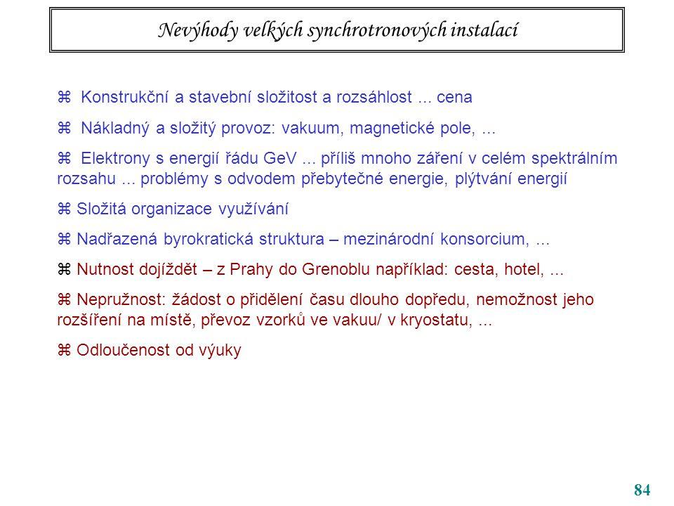 84 Nevýhody velkých synchrotronových instalací  Konstrukční a stavební složitost a rozsáhlost...