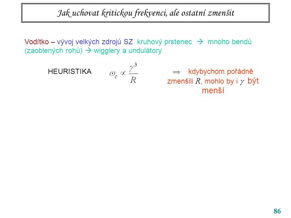 86 Jak uchovat kritickou frekvenci, ale ostatní zmenšit Vodítko – vývoj velkých zdrojů SZ kruhový prstenec  mnoho bendů (zaoblených rohů)  wigglery a undulátory HEURISTIKA  kdybychom pořádně zmenšili R, mohlo by i  být menší
