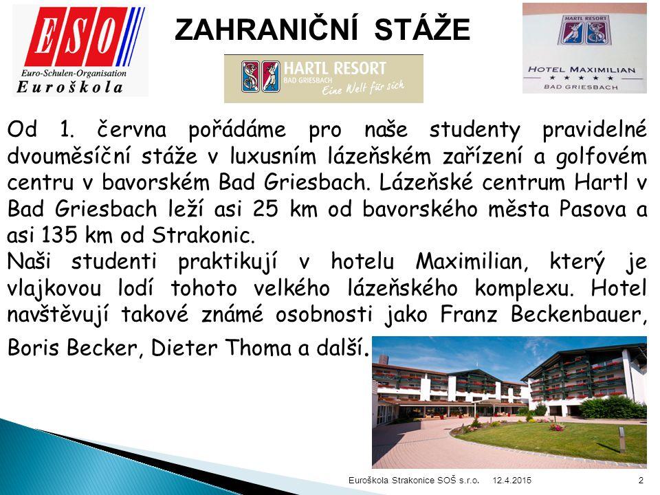 12.4.2015 Euroškola Strakonice SOŠ s.r.o. 2 ZAHRANIČNÍ STÁŽE Od 1.