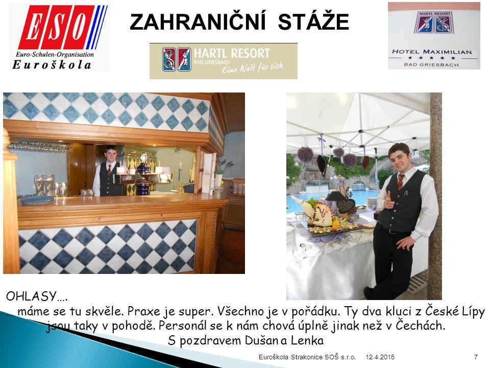 12.4.2015 Euroškola Strakonice SOŠ s.r.o. 7 ZAHRANIČNÍ STÁŽE OHLASY….