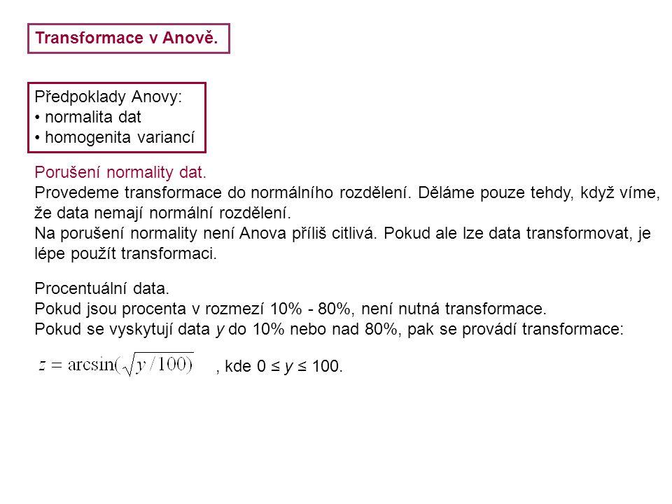 Transformace v Anově. Předpoklady Anovy: normalita dat homogenita variancí Porušení normality dat. Provedeme transformace do normálního rozdělení. Děl