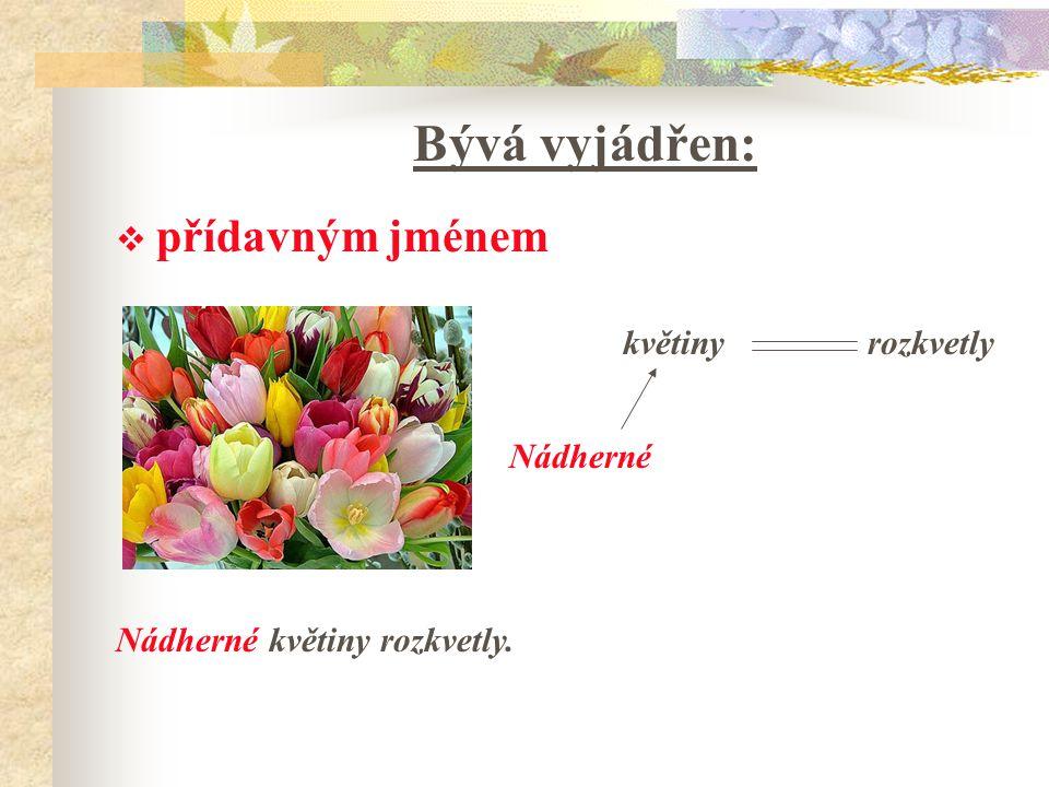 Bývá vyjádřen:  přídavným jménem Nádherné květiny rozkvetly. květinyrozkvetly Nádherné
