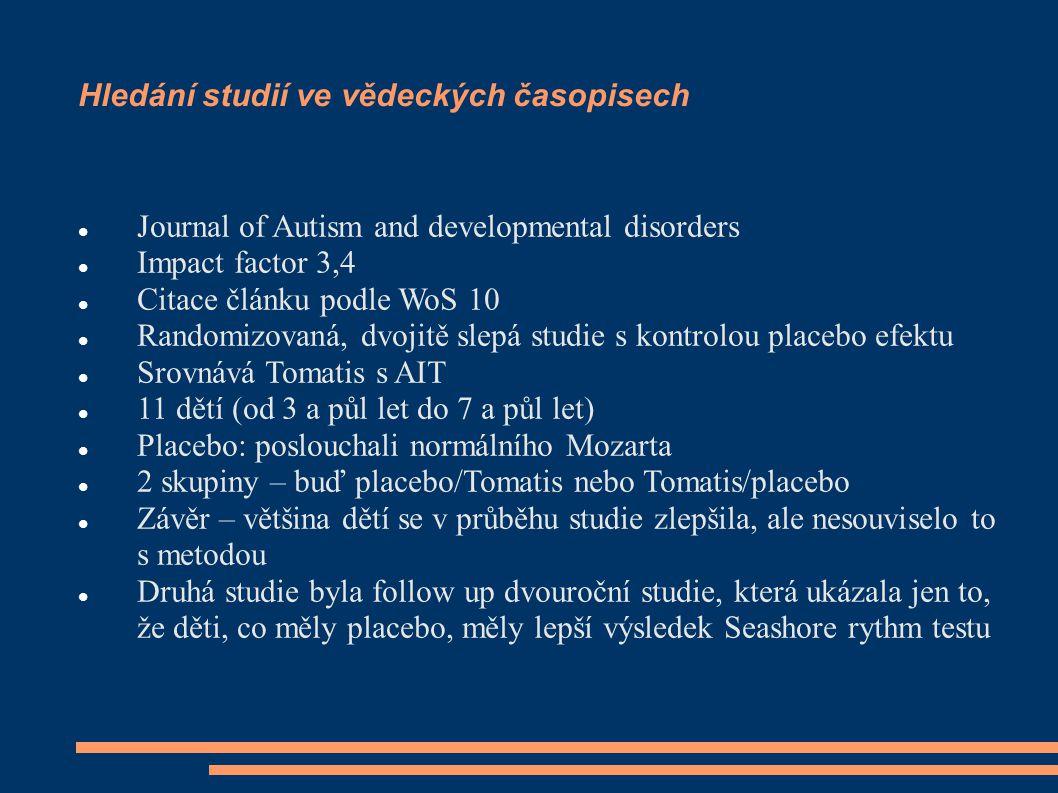 Hledání studií ve vědeckých časopisech Journal of Autism and developmental disorders Impact factor 3,4 Citace článku podle WoS 10 Randomizovaná, dvoji