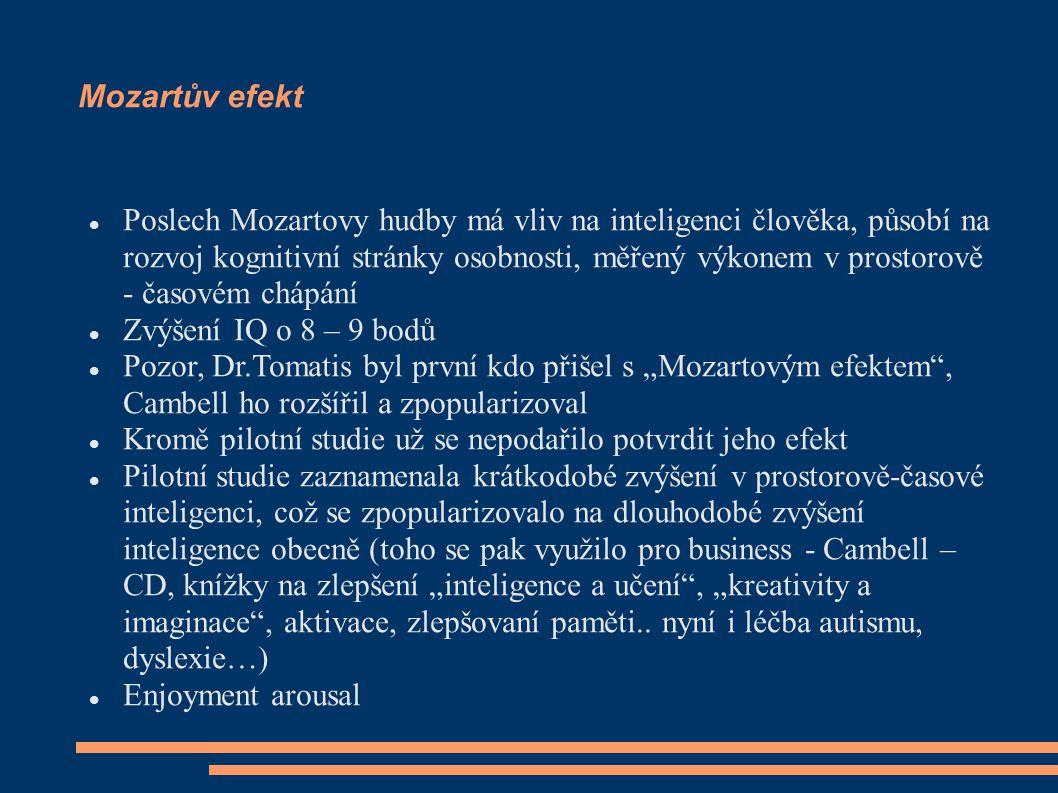 Mozartův efekt Poslech Mozartovy hudby má vliv na inteligenci člověka, působí na rozvoj kognitivní stránky osobnosti, měřený výkonem v prostorově - ča