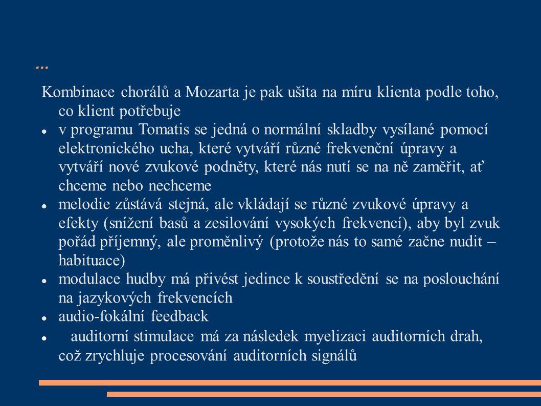 ... Kombinace chorálů a Mozarta je pak ušita na míru klienta podle toho, co klient potřebuje v programu Tomatis se jedná o normální skladby vysílané p