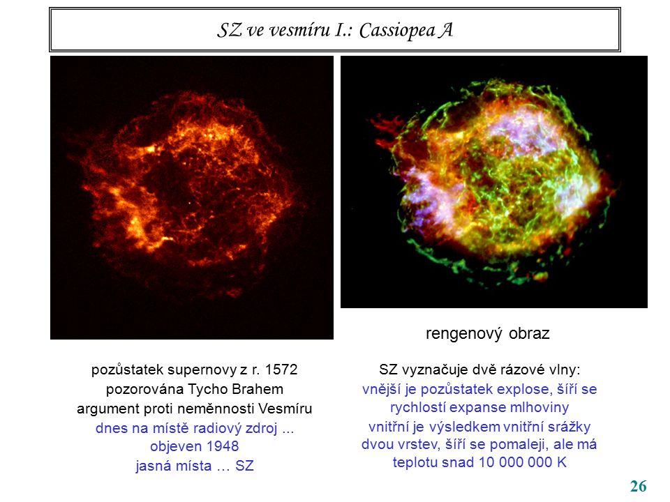 26 SZ ve vesmíru I.: Cassiopea A radiofrekvenční obraz rengenový obraz pozůstatek supernovy z r.