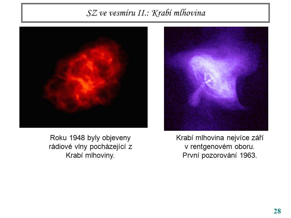 28 SZ ve vesmíru II.: Krabí mlhovina Roku 1948 byly objeveny rádiové vlny pocházející z Krabí mlhoviny.