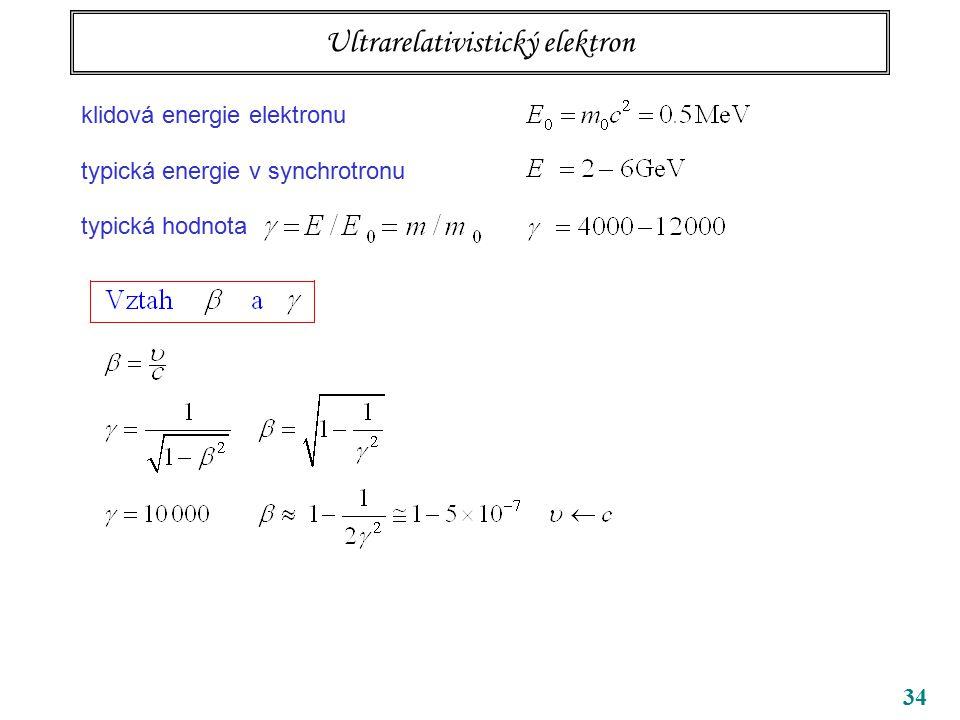 34 Ultrarelativistický elektron klidová energie elektronu typická energie v synchrotronu typická hodnota