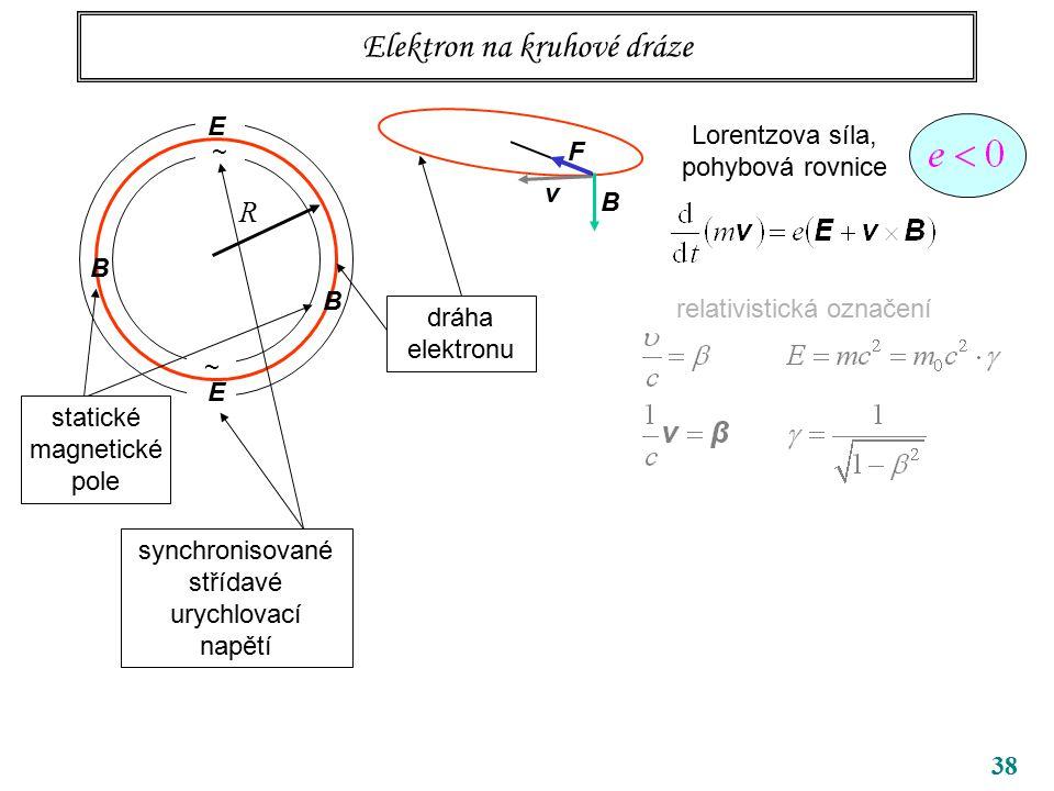 38 Elektron na kruhové dráze ~ ~ R B B dráha elektronu Lorentzova síla, pohybová rovnice relativistická označení v B F E E synchronisované střídavé urychlovací napětí statické magnetické pole