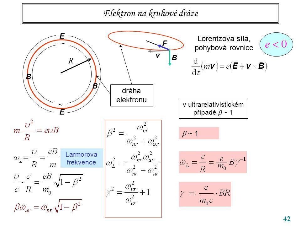 42 Elektron na kruhové dráze ~ ~ R B B dráha elektronu Lorentzova síla, pohybová rovnice v B F E E Larmorova frekvence v ultrarelativistickém případě  ~ 1  ~ 1