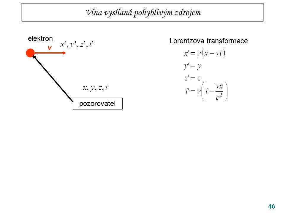 46 Vlna vysílaná pohyblivým zdrojem elektron pozorovatel v Lorentzova transformace