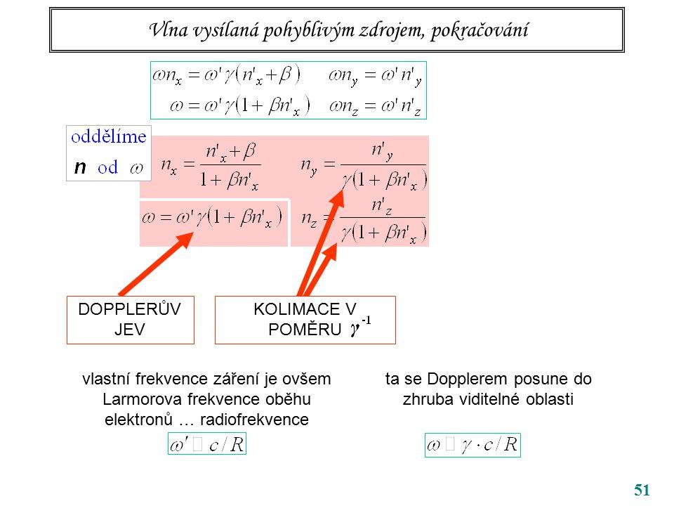 51 Vlna vysílaná pohyblivým zdrojem, pokračování DOPPLERŮV JEV KOLIMACE V POMĚRU vlastní frekvence záření je ovšem Larmorova frekvence oběhu elektronů … radiofrekvence ta se Dopplerem posune do zhruba viditelné oblasti