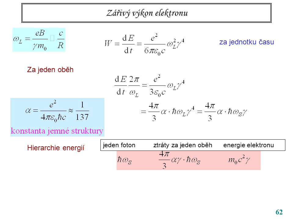 62 Zářivý výkon elektronu za jednotku času Za jeden oběh Hierarchie energií jeden foton ztráty za jeden oběh energie elektronu