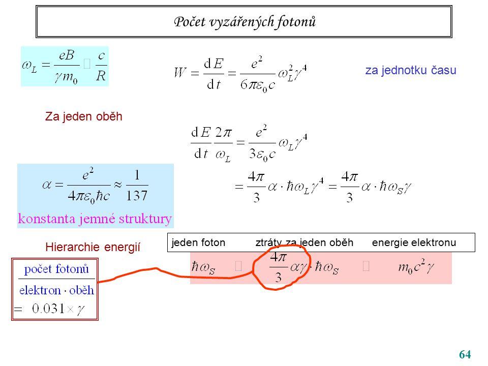 64 Počet vyzářených fotonů za jednotku času Za jeden oběh Hierarchie energií jeden foton ztráty za jeden oběh energie elektronu