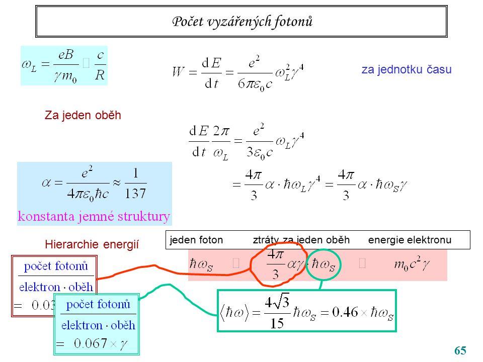 65 Počet vyzářených fotonů za jednotku času Za jeden oběh Hierarchie energií jeden foton ztráty za jeden oběh energie elektronu