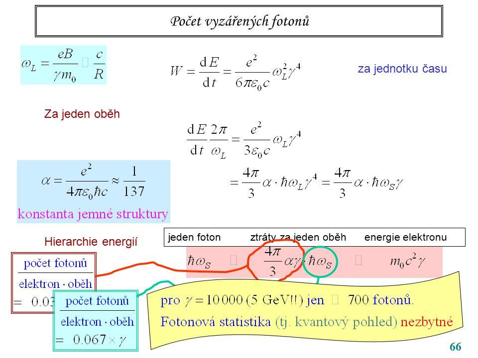 66 Počet vyzářených fotonů za jednotku času Za jeden oběh Hierarchie energií jeden foton ztráty za jeden oběh energie elektronu